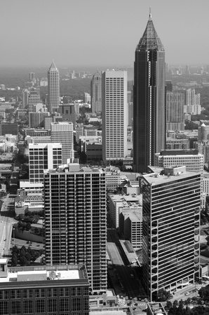 ga: Atlanta cityscape in black and white.