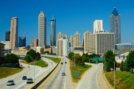 ga: Skyline of downtown Atlanta, Georgia from above Freedom Parkway. Stock Photo