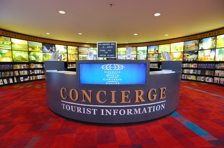 atlanta tourism: ATLANTA - SEPTEMBER 12: Tourist Info dest at Georgia World Congress Center September 12, 2011 in Atlanta, GA. The city is the seventh-most visited city in the United States. Editorial