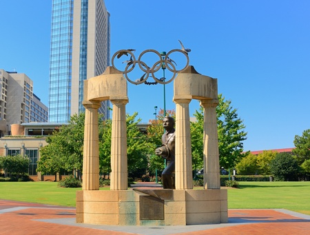 pierre: ATLANTA - SEPTEMBER 12: Pierre de Coubertin commemorative statue at Centennial Olympic Park September 12, 2011 in Atlanta, GA. Coubertin is considered founder of the modern Olympic games.