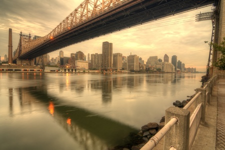 old fashioned sepia: Queensboro Bridge spanning the East River in New York City.
