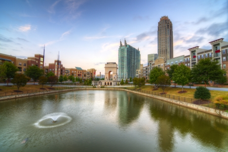 atlanta: The commons and pond at Atlantic Station in Atlanta, Georgia, USA. Stock Photo