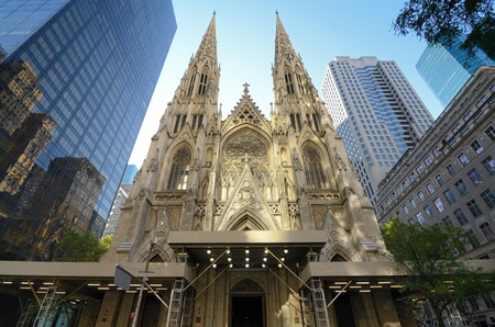Exterior of St. Patricks Cathedral in New York, New York.
