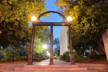 Historic steel archway on the campus of the University of Georgia in Athens, Georgia, USA.