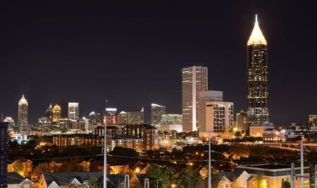 midtown: Nightscape of midtown Atlanta, Georgia, USA. Stock Photo