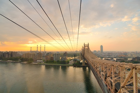 Queensboro Bridge Viewed from a cablecar in New York City. Stock Photo