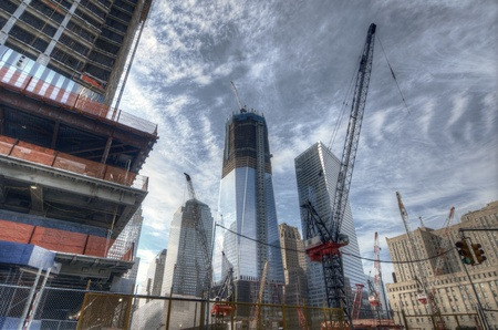 NEW YORK CITY - AUGUST 29: Ongoing construction on the World Trade Center August 29, 2011 in New York, NY. Once completed it will be the tallest skyscraper in the USA.