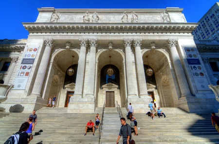 flagship: NEW YORK CITY - AUGUST 27: The New York City Public Library Main Branch August 27, 2011 in New York, NY. Completed in 1911, the flagship building is a National Historic Landmark. Editorial