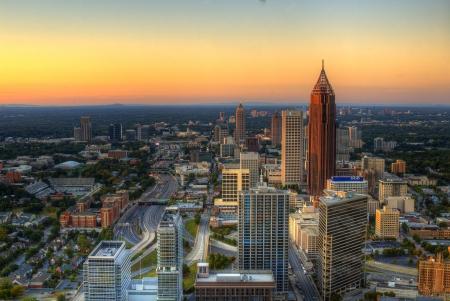 ATLANTA - SEPTEMBER 24: Cityscape with CNN Building, Omni Hotel and Georgia Dome September 24, 2011 in Atlanta, GA. Atlanta has the country Stock Photo - 10807862