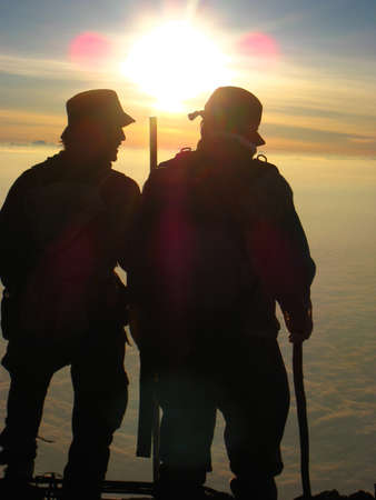 Fuji, Japan - July 1, 2008: Climbers on the summit of Mt. Fuji.