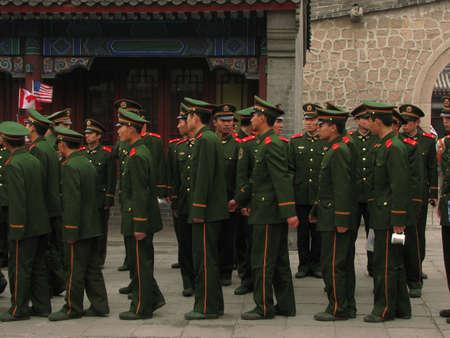 badaling: Badaling, China - March 22, 2008: Soldiers at the Great Wall of China