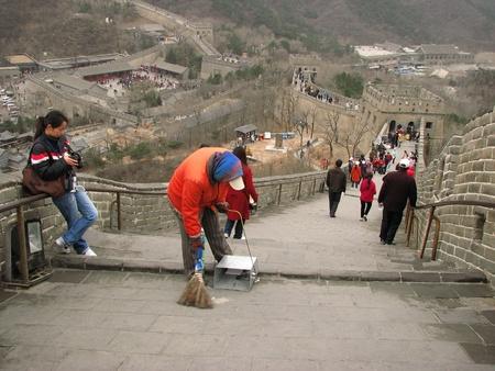 badaling: Badaling, China - March 22, 2008: Street sweeper on the Great Wall of China