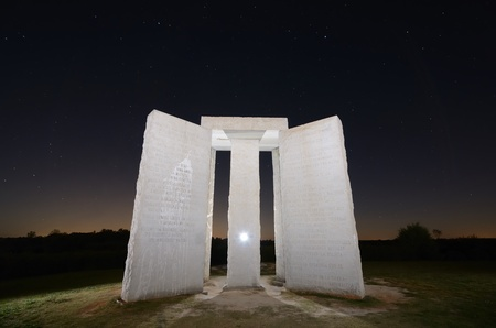 monolithic: Elbert County, Georgia - October 15, 2011: Georgia Guidestones are occasionally refered to as American Stonehendge. The inscription is composed of 10 principles in 8 different langauges. Editorial