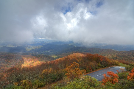 Blue Ridge Mountains: View of the Blue Ridge Mountains during fall season from Brasstown Bald, the highest elevation in the state of Georgia, USA. Stock Photo
