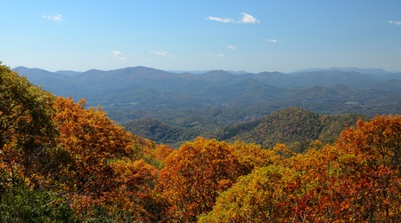 View of the Blue Ridge Mountains during fall season from Brasstown Bald, the highest elevation in the state of Georgia, USA. Stock Photo - 10930379