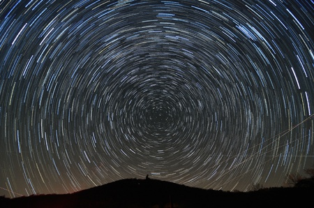 stargazing: Star trails above Brasstown Bald, the highest elevation in the state of Georgia, USA.
