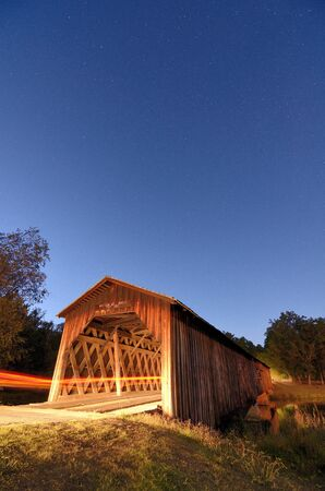 est: Watson Mill Bridge Est. 1885 at Watson Mill State Park in Comer, Georgia.