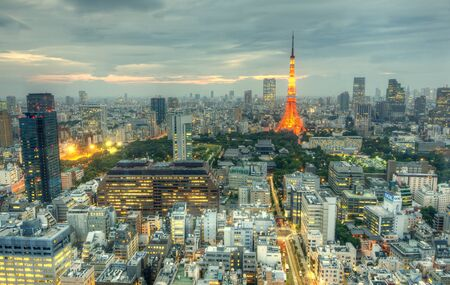 minato: Tokyo, Japan - July 5, 2011: Tokyo Tower in Minato Ward July 5, 2011 in Tokyo, JP. With over 35 million people, Tokyo is the most populated metropolitan area in the world. Editorial
