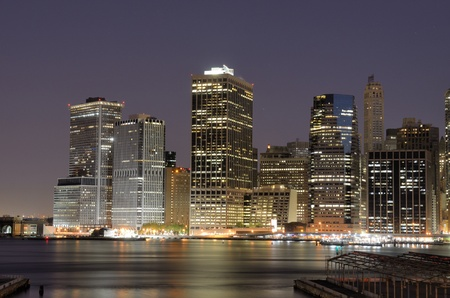Lower Manhattan viewed from Brooklyn Heights in New York City. photo