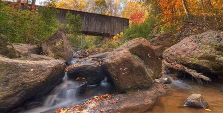 northeast: Stream under Elder Covered Bridge in northeast Georgia, USA.