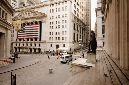 NEW YORK CITY - AUGUST 24: Wall Street on August 24, 2011 in New York, NY. Wall St is the home of New York Stock Exchange, the worlds largest stock exchange by market capitalization.