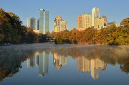 Skyline van Piedmont Park in Atlanta, Georgia, USA. Stockfoto