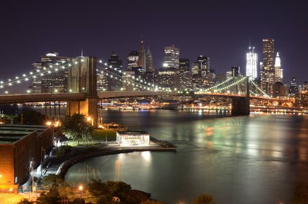 east river: View of Downtown New York City and Brooklyn Bridge