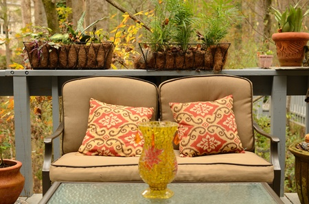 love seat: Patio furniture love seat.
