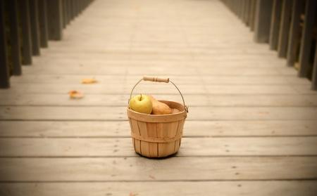fruit basket: Fruit Basket on a walkway