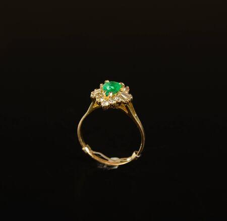 Emerald Ring with diamonds Banco de Imagens