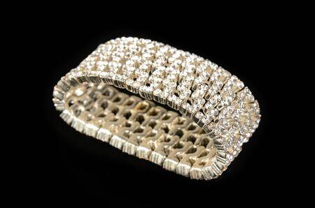 Diamond bracelet on black Stok Fotoğraf