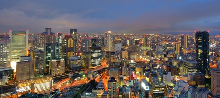 osaka: Panorama of the Umeda, Osaka, Japan skyline. Editorial