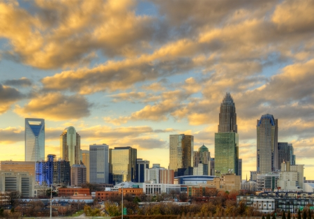 Skyline of Uptown Charlotte, North Carolina. Stock Photo