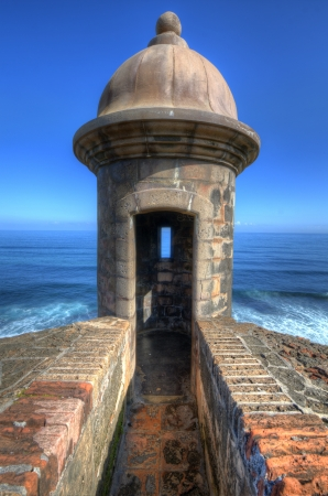puerto rico: Turret at Castillo San Cristobal in San Juan, Puerto Rico. Stock Photo