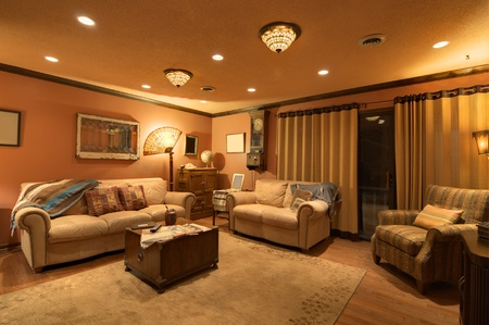 den: Interior of a home den Editorial