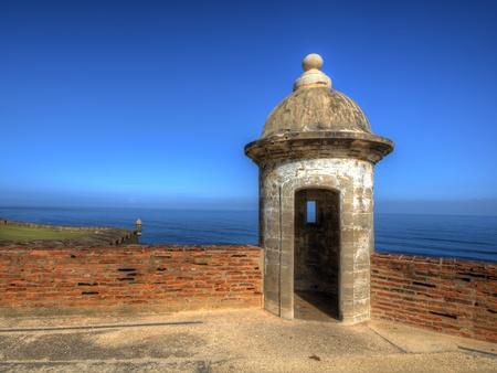 san juan: Turret at Castillo San Cristobal in San Juan, Puerto Rico. Stock Photo