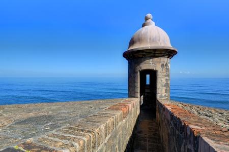turret: Turret at Castillo San Cristobal in San Juan, Puerto Rico. Stock Photo