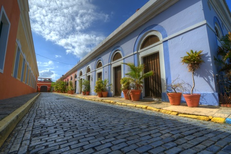 gravel roads: Alley in the old city of San Juan, Puerto Rico.