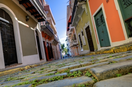 cobblestone street: Alley in the old city of San Juan, Puerto Rico.