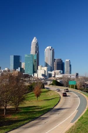 uptown: Skyline of Uptown Charlotte, North Carolina. Stock Photo