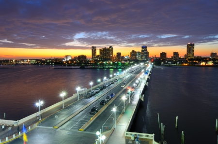 bay: Skyline of St. Petersburg, Florida from the Pier. Stock Photo