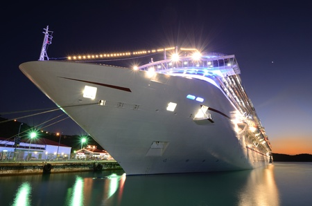luxurious: Cruise ship docked at twiilight