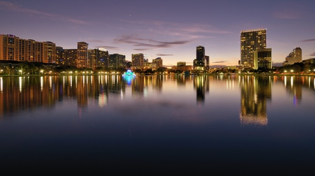 Skyline of Orlando, Florida from lake Eola. photo