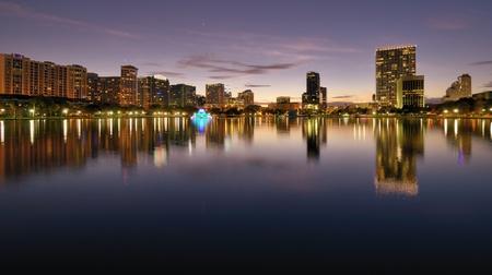 floridian: Skyline of Orlando, Florida from lake Eola.