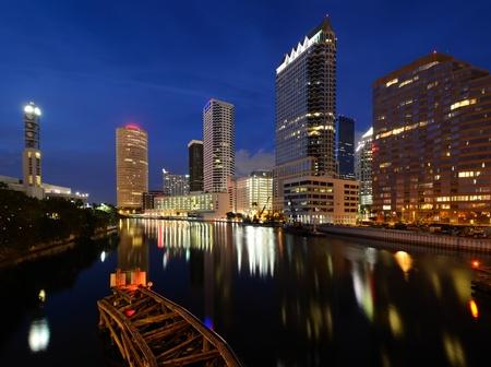 tampa bay: Downtown Tampa along the Hillsborough River Stock Photo