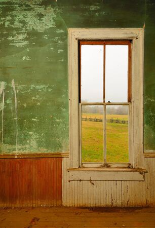 abandoned house window: Window in an old antique home Stock Photo