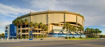 tropicana: ST. PETERSBURG, FLORIDA - JANUARY 2: Tropicana Field on January 2, 2012 in St. Pete, FL. It is the only stadium in history to host full seasons of professional baseball, football, hockey, arena football, and collegiate basketball and football.