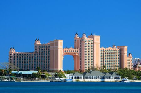 bahama: NASSAU, BAHAMAS - JANUARY 1: Atlantis Paradise Island January 1, 2012 in Nassau, Bahamas. The bridge suite located in the span is the most expensive suite in the world costing approximately $25,000 USD.
