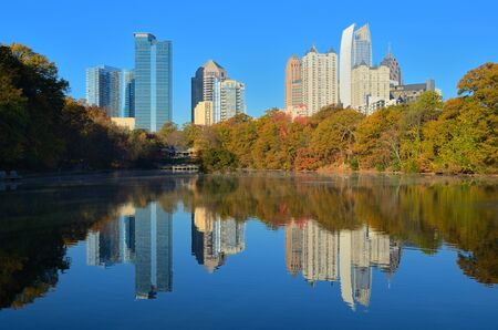 midtown: Midtown Atlanta, Georgia viewed from Piedmont Park in the autumn. Editorial