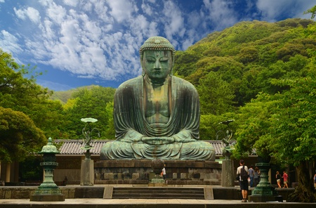 shrine: The Great Buddha (Daibutsu) on the grounds of Kotokuin Temple in Kamakura, Japan.